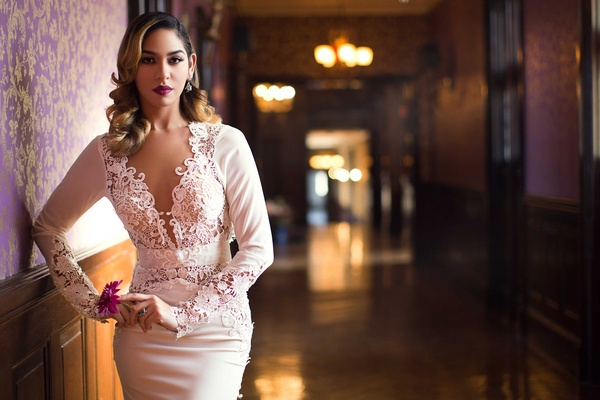 bride sultry wedding look classic vintage berry lipstick berta bridal dress styled shoot sleeves