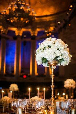 White rose and white hydrangea tall flower arrangement at Gotham Hall wedding reception