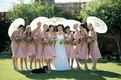 bridesmaids wear pink dresses and cary parasols