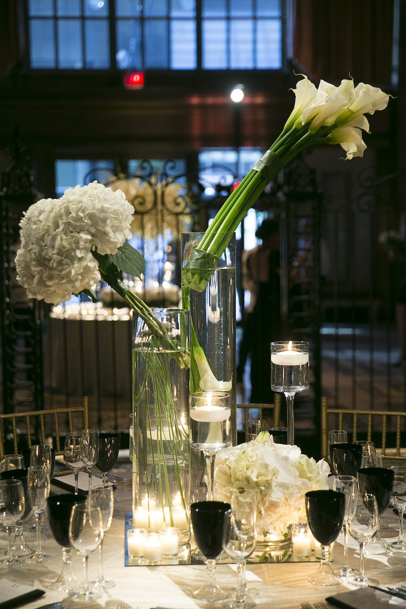 Reception dcor photos contemporary white flower arrangements wedding reception table with modern bouquets of white calla lilies hydrangeas black goblets floridaeventfo Choice Image