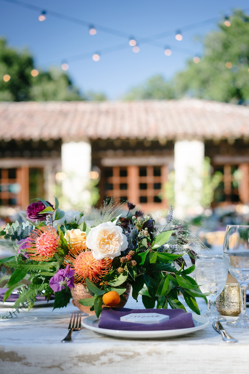 rustic ranch wedding, low centerpieces with unusual flowers, wildflowers