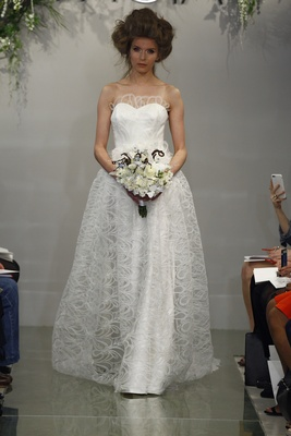 THEIA Althea Strapless Wedding Dress With Whisper Lace