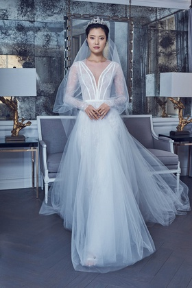 Romona Keveza Spring 2019 collection lace v neck ball gown with illusion sleeves and grosgrain