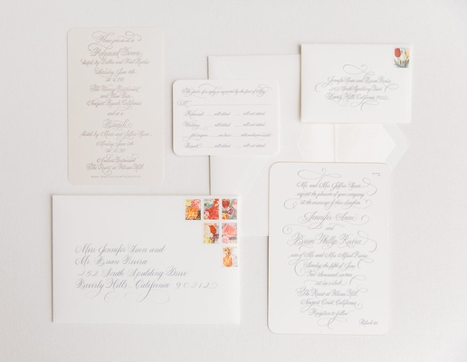 white grey gray invitations colorful stamps classic plain wedding newport beach pelican hill resort