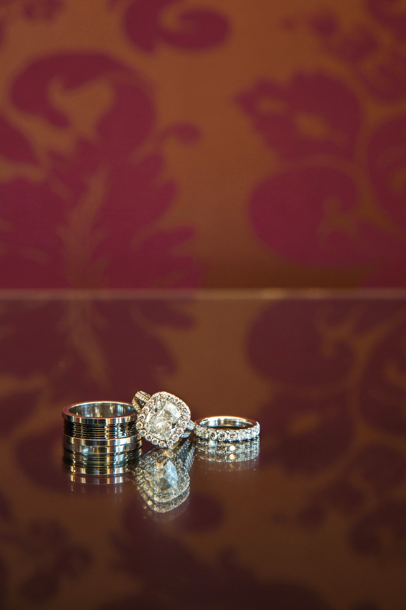 Elaine Alden's engagement ring and eternity band