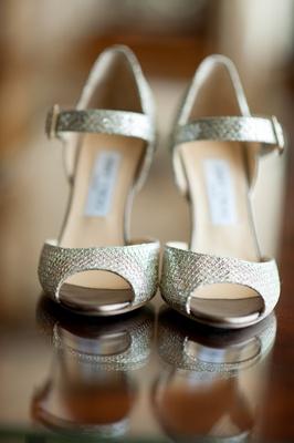 Silver snakeskin peep-toe Jimmy Choo heels