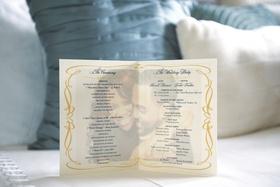 Wedding ceremony program with photo of Kandi Burruss