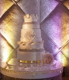 wedding cake with varying sizes of layers
