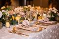 wedding reception texture flower applique linen blush gold rim charger low centerpiece pink rose