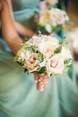 Sage green Jenny Yoo Collection bridesmaid dresses light pink rose bouquet with green leaves
