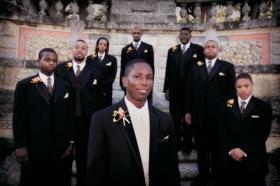 Caribbean groom with groomsmen at Vizcaya Museum