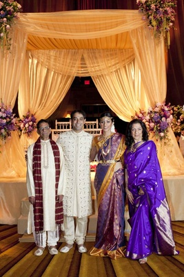 Actress Reshma Shetty, groom, and his parents at her Indian Hindu wedding