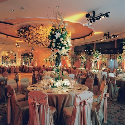 Ballroom wedding with lots of flowers at Beverly Hills Hotel