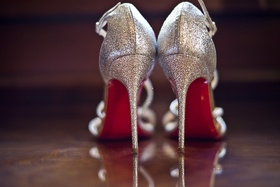 silver sparkly christian louboutin strappy bridal high heels
