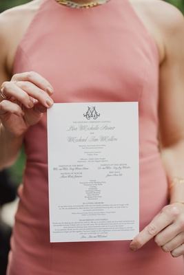 Wedding ceremony with program and details of Jewish wedding ceremony