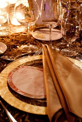 Fall wedding plate, menu card, and gold linen napkin