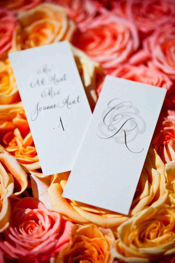 Rectangular seating cards with calligraphy