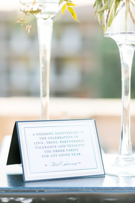 Wedding ceremony sign wedding anniversary vow renewal with