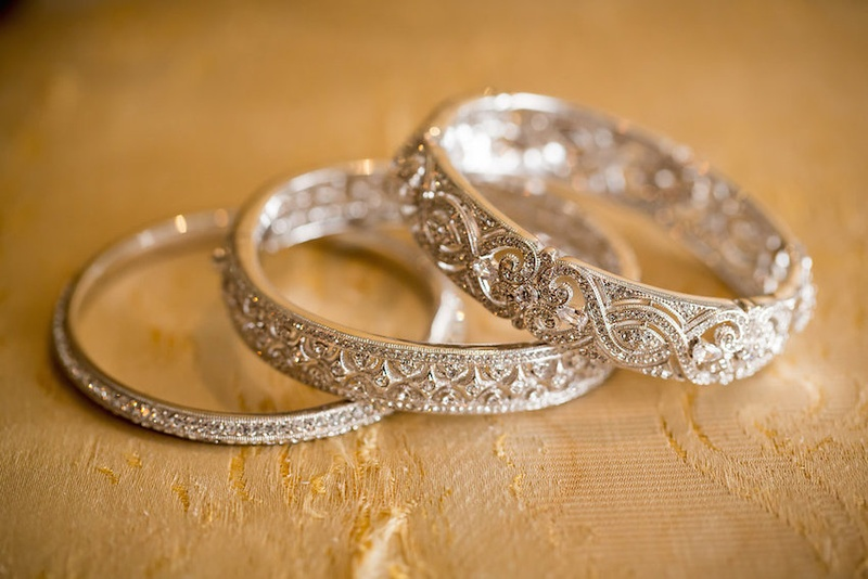 Bride's set of three Nadri bangle bracelets