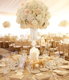 Waterford crystal wedding centerpiece with white rose and hydrangea