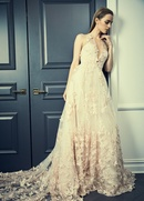 Romona Keveza Collection Bridal blush lace halter a-line bridal gown with circle skirt