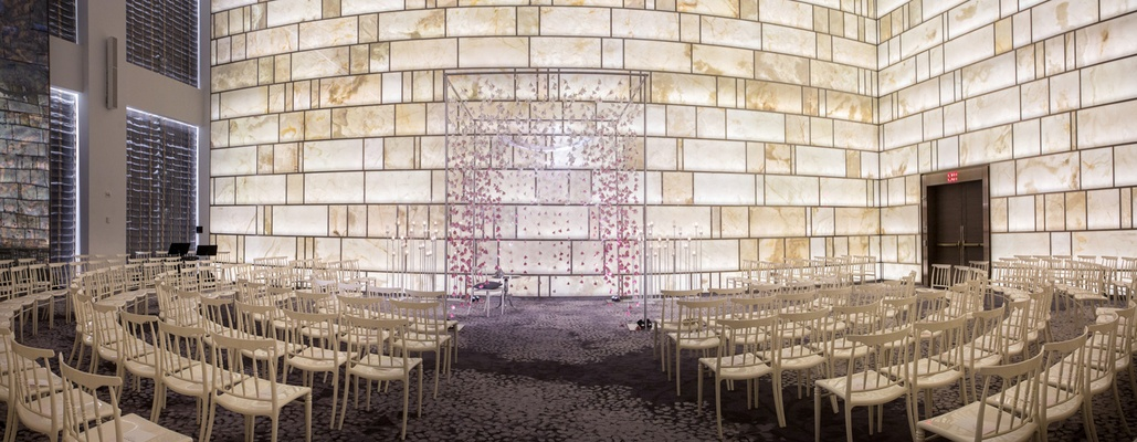 modern ceremony space suspended blooms arch wedding indoors metallics park hyatt new york