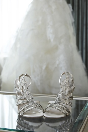 sergio rossi silver bridal sandals heels with sequins