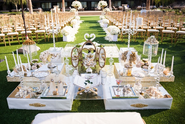 White and gold mirror glamorous sofreh aghd table persian wedding ceremony outdoor lawn hotel venue