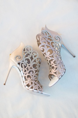 Rene Caovilla cutout rhinestone crystal heels booties open toe ankle boots wedding shoes heels