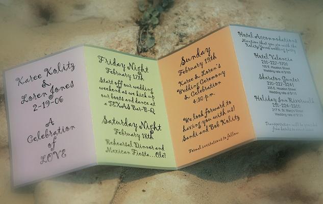 Purple, green, orange, and blue invites