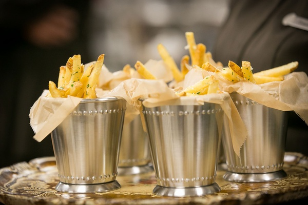 French fries served in mint julep cups at wedding vow renewal ideas late night snack
