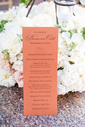 Serving station wedding menu card on coral paper