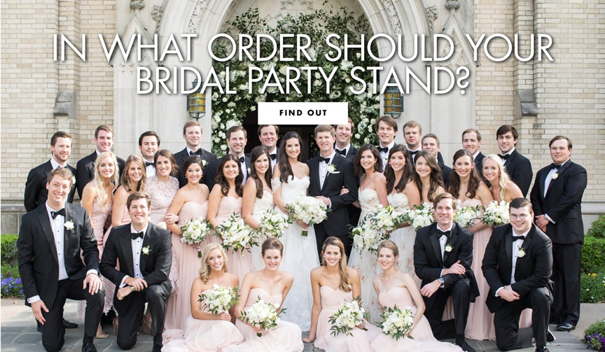 in what order should your bridal party stand during the wedding ceremony processional photos and mor