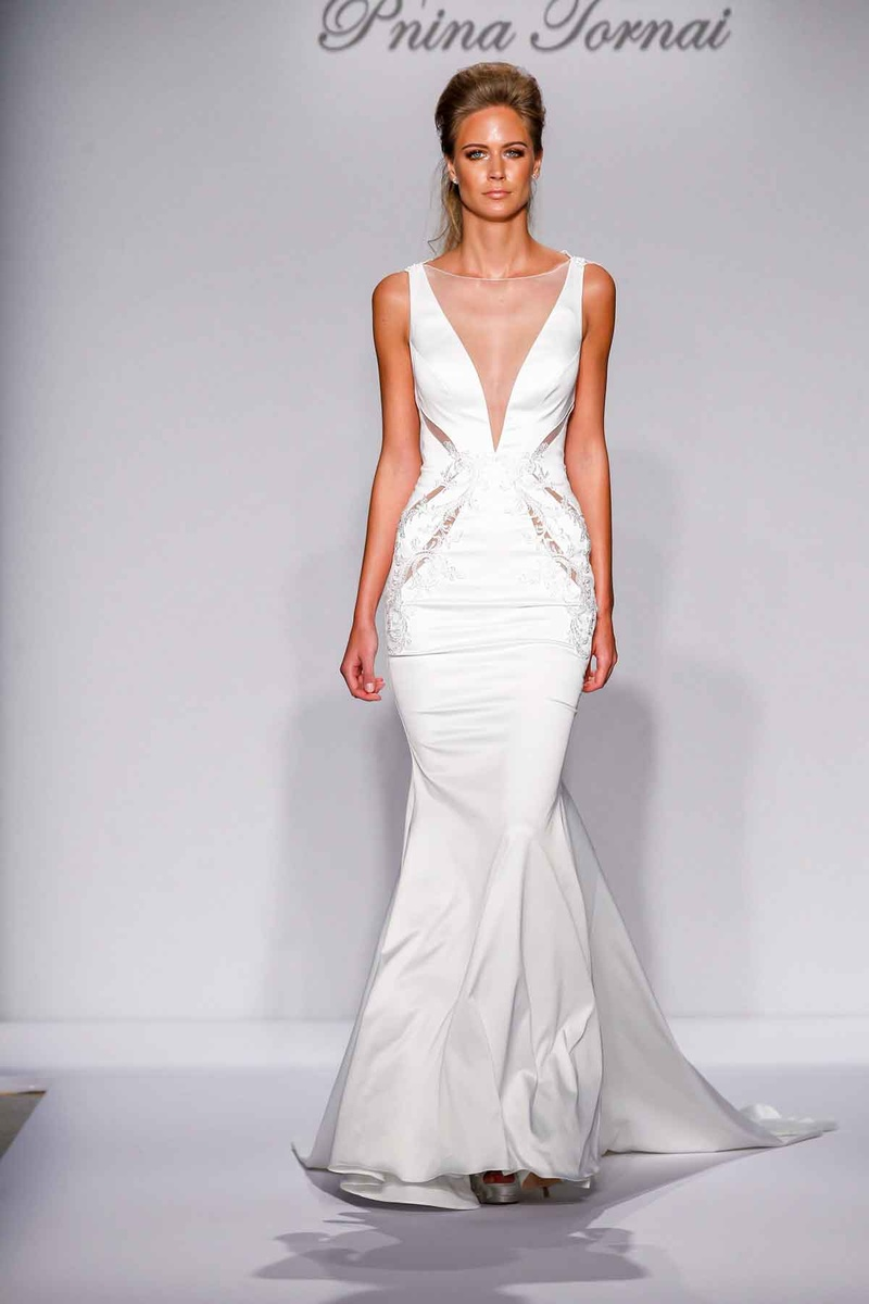 Pnina Tornai for Kleinfeld 2016 illusion deep v wedding dress with cutouts