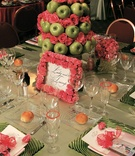 Green and pink reception tablescape