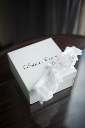 Pnina Tornai lace leg garter with white bow