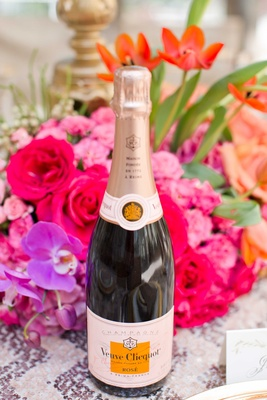 champagne veuve clicquot bottle on vibrant tablescape expensive french drink wine bubbly wedding