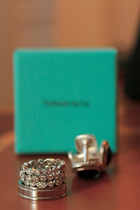 Tiffany & Co. men's wedding band and bride's stacked wedding rings