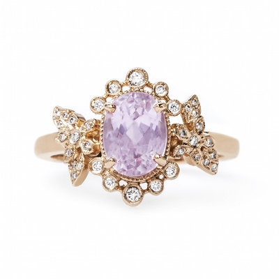 Claire Pettibone x Trumpet & Horn Grace rose gold engagement ring with kunzite