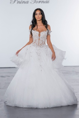Pnina Tornai for Kleinfeld 2018 wedding dress lace details ball gown sheer corset bodice off shoulde