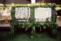 escort card seating charts on glass and wall of leaves