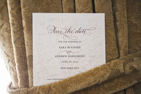 Wedding save the date card on New York City map