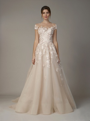Liancarlo Fall 2018 Floral embroidery on French tulle cap sleeve ball gown in blush