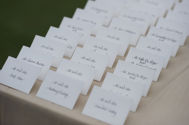 Seating cards printed with modern calligraphy