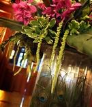 Wedding reception tropical floral arrangement