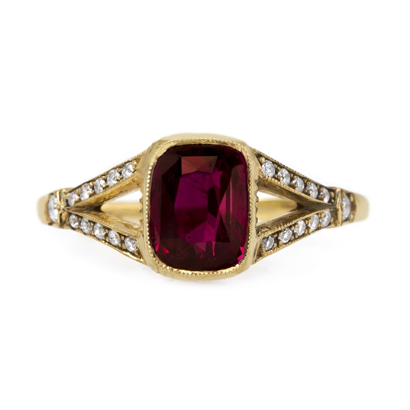 claire pettibone and trumpet and horn equinox engagement ring, yellow gold, ruby gemstone, milgrain