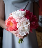 bridesmaid bouquet shades of pink different flowers kinds wedding feminine details southern
