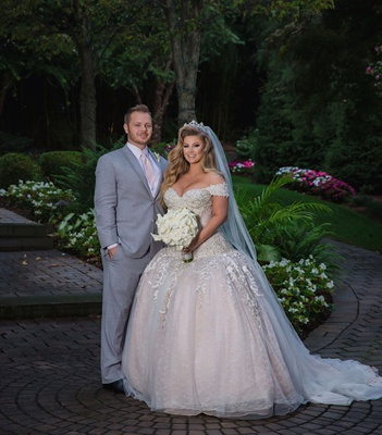 wedding portrait of ashley alexiss and travis yohe drop waist ball gown wedding dress tiara