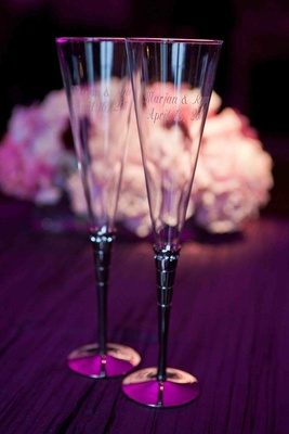 Wedding toasting flute with engraving technique