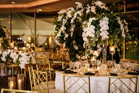 wedding reception round table gold chairs white orchid greenery centerpiece ballroom reception